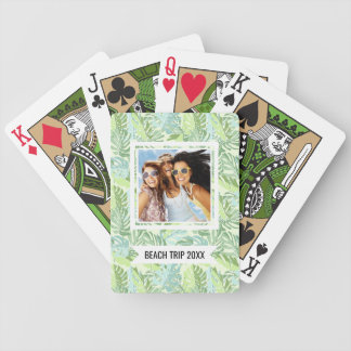 Add Your Name | Pastel Tropical Palm Leaves Bicycle Playing Cards