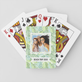 Add Your Name | Pastel Tropical Palm Leaves Playing Cards