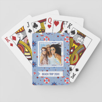 Add Your Name | Patchwork Nautical Design Playing Cards