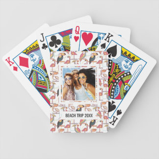 Add Your Name | Pattern With Tropical Birds Bicycle Playing Cards