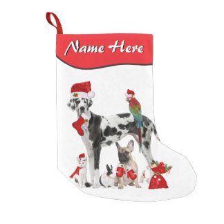 Add Your Name Pet Shop Veterinarian Santa Pets Small Christmas Stocking