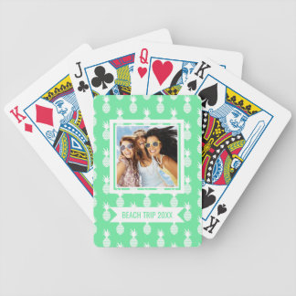 Add Your Name   Pineapple Mint Pattern Bicycle Playing Cards