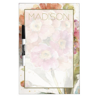 Add Your Name | Pink and Orange Primrose Dry Erase Board