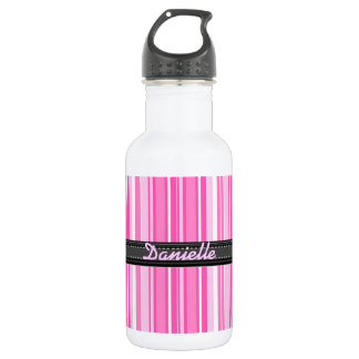 Add Your Name Pink Stripes 532 Ml Water Bottle