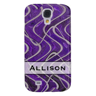 Add Your Name Purple and White Pern Galaxy S4 Case