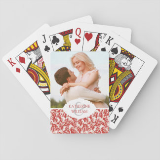 Add Your Name | Red Coral Pattern Playing Cards