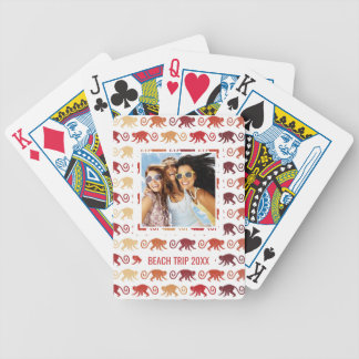 Add Your Name | Red Monkeys Pattern Bicycle Playing Cards