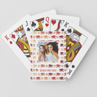 Add Your Name | Red Monkeys Pattern Playing Cards