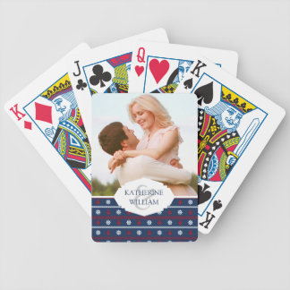 Add Your Name | Red White And Blue Ocean Pattern Bicycle Playing Cards