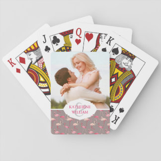 Add Your Name | Retro Flamingos Playing Cards