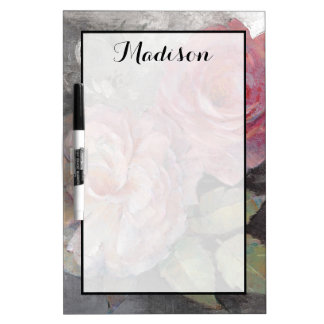 Add Your Name | Roses on Gray Dry Erase Board