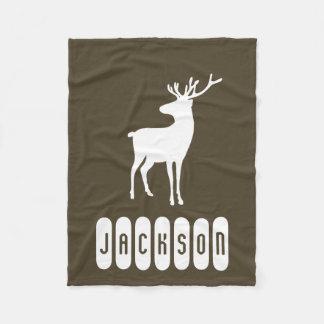 Add Your Name Rustic Reindeer Baby Fleece Blanket