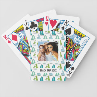 Add Your Name | Sailboats On The Water Pattern Bicycle Playing Cards