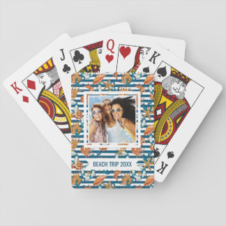 Add Your Name | Sea Shells And Anchor Pattern Playing Cards