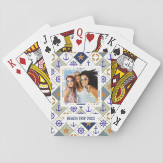 Add Your Name   Sea Theme Pattern Playing Cards