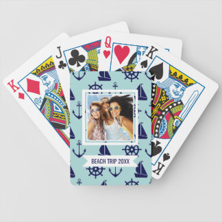 Add Your Name | Seaside Pattern Bicycle Playing Cards