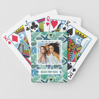 Add Your Name | Shades Of Blue Seashells And Starf Bicycle Playing Cards