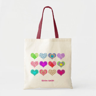 Add your name sweat heart budget tote bag