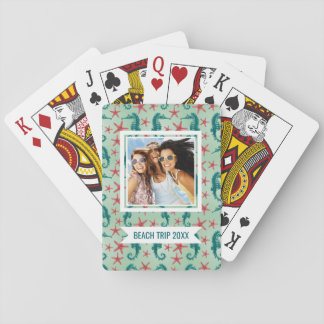 Add Your Name | Teal Seahorse Pattern Playing Cards