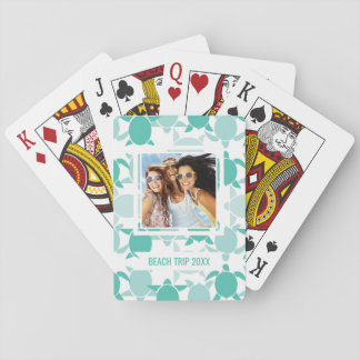 Add Your Name | Teal Turtle Pattern Playing Cards