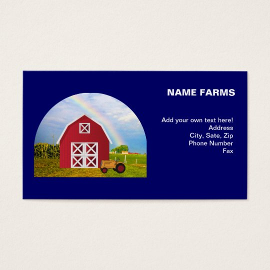 Add Your Name to Red Barn with Blue Sky Business Card