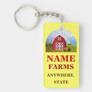 Add Your Name to Red Barn with Blue Sky Double-Sided Rectangular Acrylic Key Ring