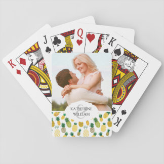 Add Your Name | Trendy Pineapple Pattern Playing Cards