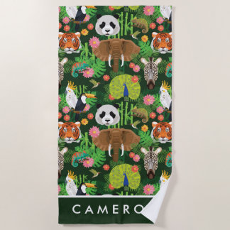 Add Your Name   Tropical Animal Mix Beach Towel