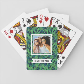 Add Your Name | Tropical Leaves Pattern Playing Cards