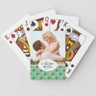 Add Your Name | Tropical Pineapples On Teal Playing Cards