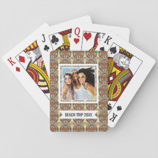 Add Your Name | Turtle Floral Pattern Playing Cards