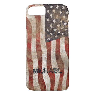 Add your name USA flag vintage style iphone 7 case