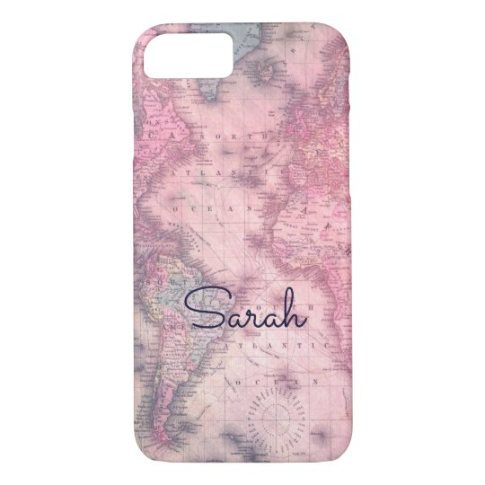 Add your name - Vintage pink map iphone