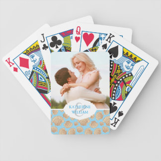 Add Your Name | Vintage Style Seashell Pattern Bicycle Playing Cards