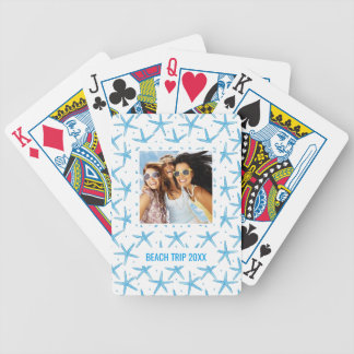 Add Your Name | Watercolor Blue Sea Stars Pattern Bicycle Playing Cards