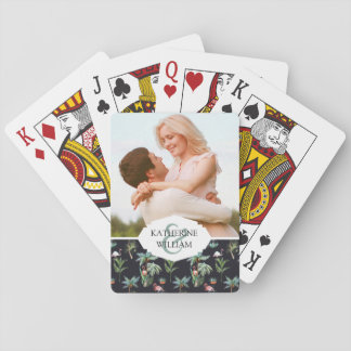 Add Your Name | Watercolor Palm Pattern Poker Deck