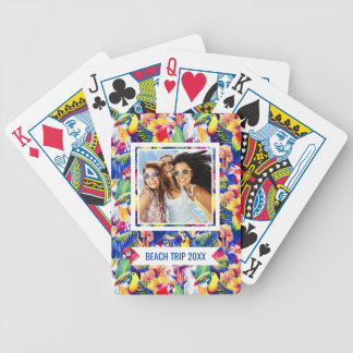Add Your Name   Watercolor Parrots Bicycle Playing Cards