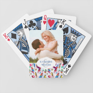 Add Your Name   Watercolor Style Parrots Poker Deck