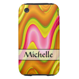 Add Your Name yellow pink bright abstract iPhone 3 Tough Case