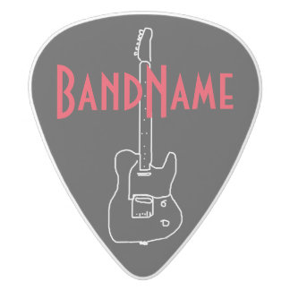 add your own band name white delrin guitar pick