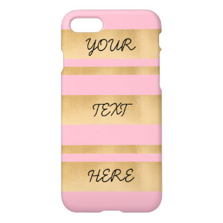 Add your own custom text, faux gold foil stripes iPhone 7 case