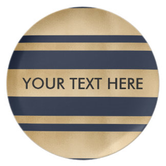 Add your own custom text, faux gold foil stripes plates