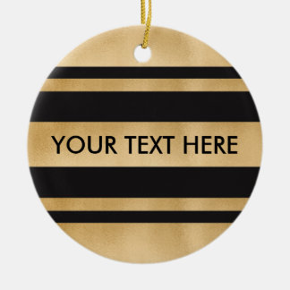 Add your own custom text, faux gold foil stripes round ceramic decoration