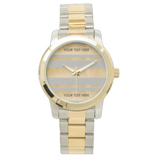 Add your own custom text, faux gold foil stripes wristwatches