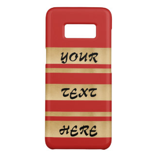 Add your own custom text, faux gold stripes Case-Mate samsung galaxy s8 case
