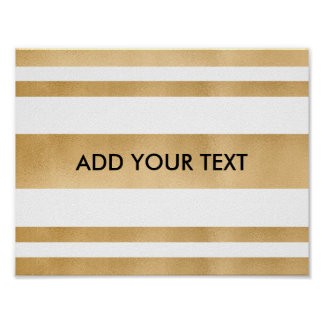 Add your own custom text, faux gold stripes poster