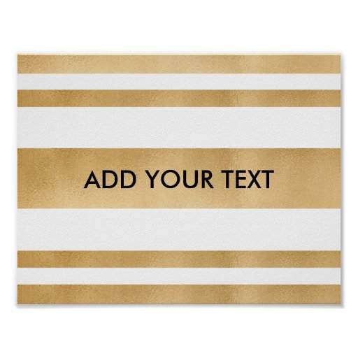 Add your own custom text, faux gold stripes