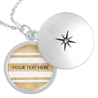 Add your own custom text, faux gold stripes silver plated necklace