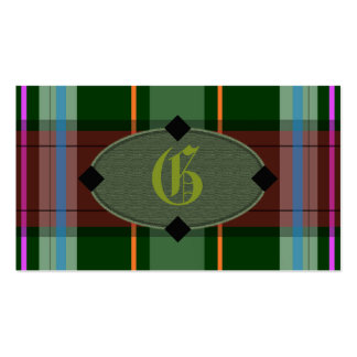 Add Your Own Monogram Preppy Plaid Business Cards