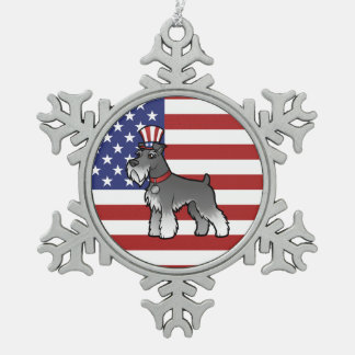 Add Your Own Pet and Flag Snowflake Pewter Christmas Ornament